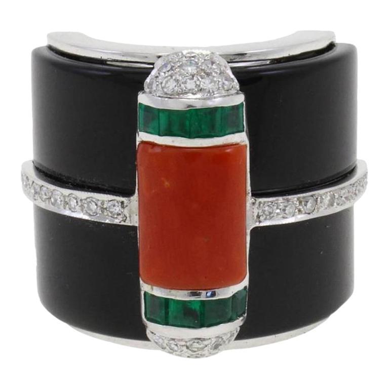 Onyx Diamond Coral Emerald Gold Ring