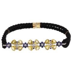 Yellow Topaz Sapphires Diamonds Gold Necklace