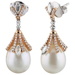 Studio Rêves Diamonds and South Sea Pearls Earrings in 18 Karat Gold