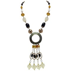 Gold Silver Stone Pearl Necklace