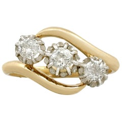 1900er, Antik 1.22 Karat Diamant und Gelbgold Platin Set Trilogy Ring