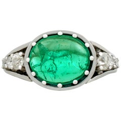 1950s 2.72 Carat Emerald and Diamond White Gold Cocktail Ring