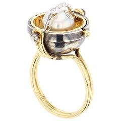 Sphere Ring Akoya by Elie Top