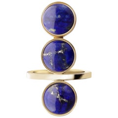 Yellow Gold and Lapis Lazuli Cocktail Ring