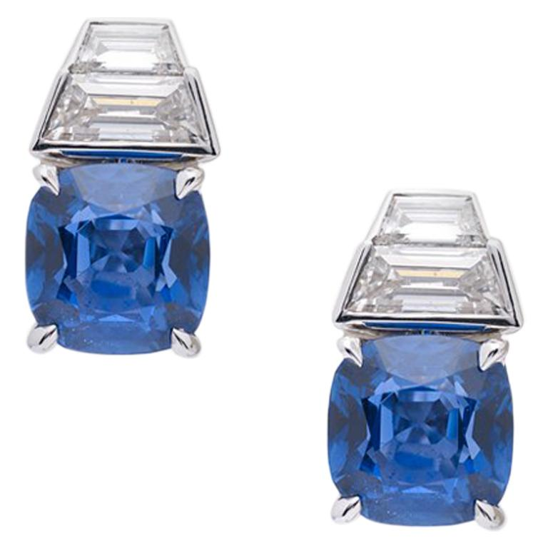 18 Karat White Gold Earrings with Diamonds, Ceylon and Burma Certified Sapphires For Sale