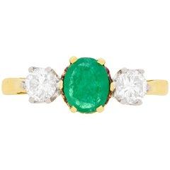 Vintage Oval Emerald and Diamond Three-Stone Ring, circa 1970s