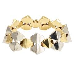 1930er Jahre Art-Deco-zweifarbig geometrische Goldarmband