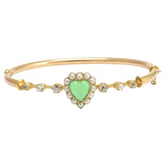 Victorian Chrysophrase Diamond Pearl Love Heart Bangle