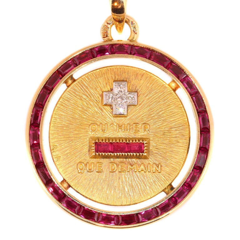 Vintage 1950s Romantic Gold Love Pendant with Diamonds and Rubies