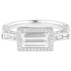 GIA Certified White Gold Baguette Cut Diamond Ring Set with Brilliant Cut
