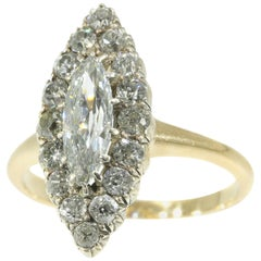 Late Victorian 1.82 Carat Diamond Gold Marquise Engagement Ring, 1880s