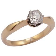 0.50 Carat Diamond Solitaire Ring 18 Karat Yellow Gold