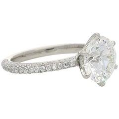 Hancocks 3.08 Carat Old European Brilliant Pavé Set Diamond Solitaire Ring