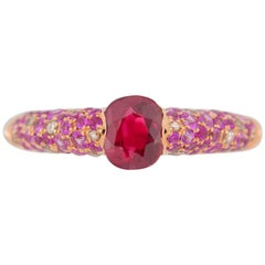 Jona Natural Burmese Ruby Pink Sapphire and Diamond 18 Karat Rose Gold Ring