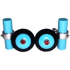 Round Ruby Natural Turquoise Onyx White Gold Faceted Disk Shaped Cufflinks