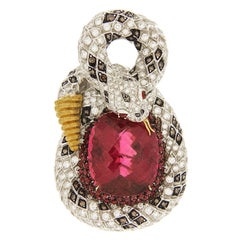 Valentin Magro Curving Snake Rubelite Brooch with White and Cognac Diamonds