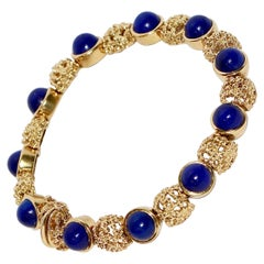 Solid, 18 Karat Gold Bracelet, Bangle with Lapis Lazuli