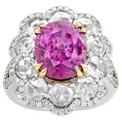 Boysenberry Pink Ceylon Sapphire Ring, 6.56 Carat