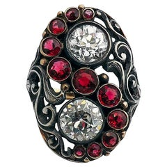 Art Deco Red Spinel Old European Cut Diamond Silver Gold Ring Signed CINI