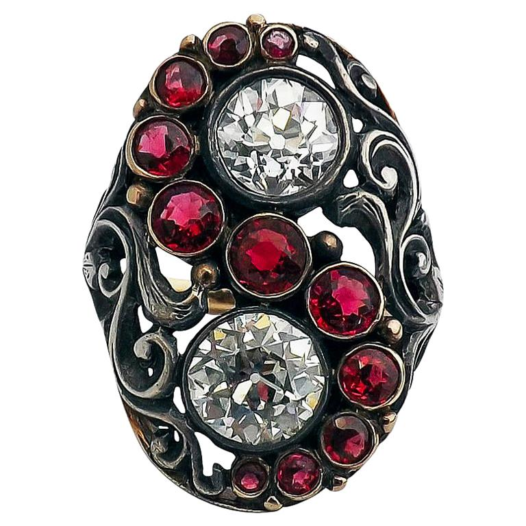 Art Deco Red Spinel Old European Cut Diamond Silver Gold Ring Signed CINI For Sale