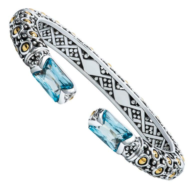 John Hardy Sterling Silver Cuff Bracelet with 2 Radiant Cut Blue Topaz For Sale