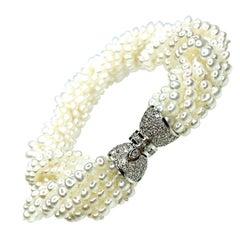 Cultured Pearl and Diamond Bracelet 18 Karat