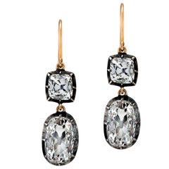 Vintage Brilliant Cushion and Square Cut Diamond Gold Silver Drop Earrings