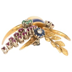 Sapphire, Ruby, Emerald Yellow Gold Brooch