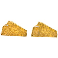 Cartier Retro Diamond 18 Karat Gold Locomotive Train Cufflinks