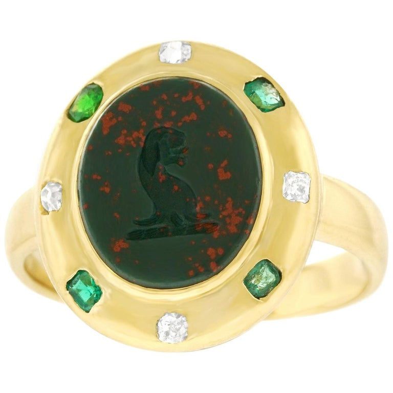 Renaissance Revival Bloodstone Signet Ring 18 Karat, circa 1890s For Sale