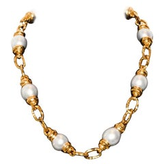 1970s Migliore 22 Karat Hand Fabricated One of a Kind South Sea Pearls Necklace