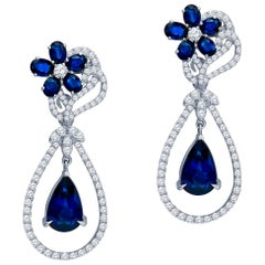 6.55 Carat Total in Sapphires and 1.45 Carat in Diamonds, Convertible Earrings