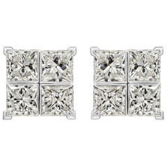 8.17 Carat Princess Cut Diamond White Gold Cluster Earrings