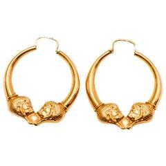 1970s 18 Karat Lions Heads Pierced Hoop Earrings