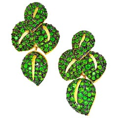 Chrome Diopside Tsavorite Garnet Gold Earrings One of a Kind