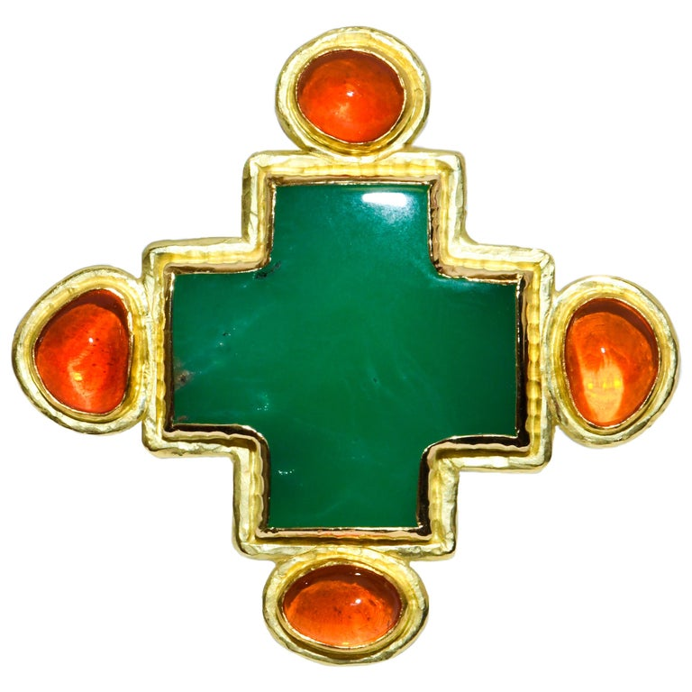 Hughes-Bosca 18 Karat Chrysophrase and Mexican Jelly Opals Cross Ring For Sale