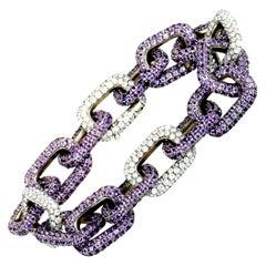 Mimi So Diamond and Sapphire White Gold Chain Bracelet