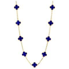 Van Cleef & Arpels Alhambra Lapis Lazuli Yellow Gold 20-Motif Necklace