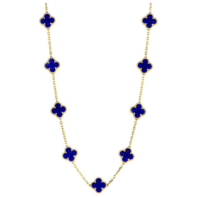 Van Cleef & Arpels Alhambra Lapis Lazuli Yellow Gold 20-Motif Necklace For Sale