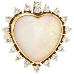 Vintage Opal Heart Diamond Ring 18 Karat Gold Natural Gem Estate Fine Jewelry