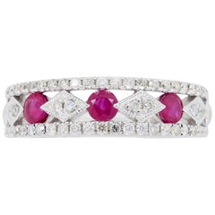 Filigree Diamond and Ruby Band