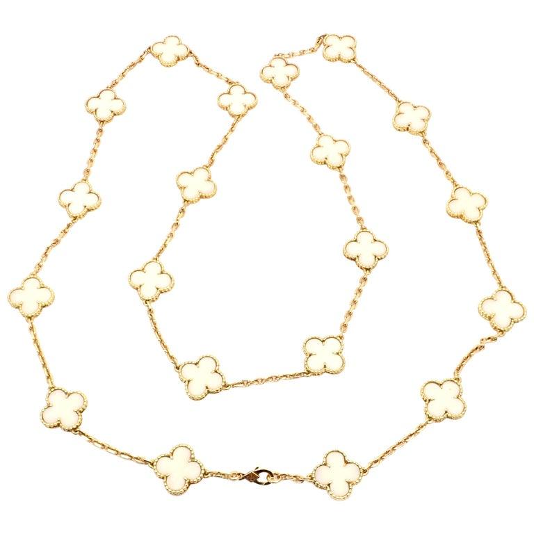 Van Cleef & Arpels White Coral Gold 20 Motif Vintage Alhambra Necklace For Sale