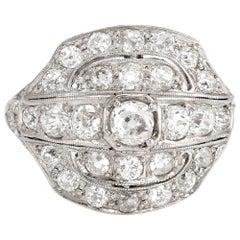 Antique Deco Diamond Ring 2.25 Carat Platinum Vintage Fine Jewelry Heirloom