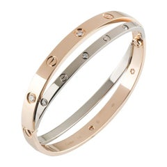 Cartier Rose and White Gold Diamond Double Love Bracelet