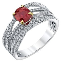 1.30 ct. Burmese Ruby, Diamond Set 18k White Gold Multi-Band Wrap-Around Ring