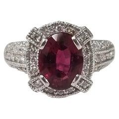 Rubelite Garnet and Diamond Ring