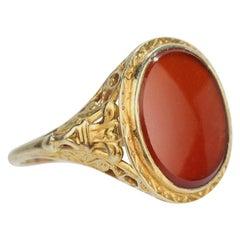 Carnelian and 14 Karat Gold Filigree Ring