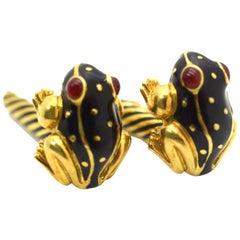 David Webb Frog Enamel Black Cufflinks 18 Karat Yellow Gold