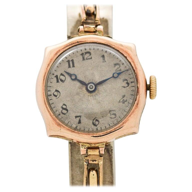 fa25882028b Vintage Rolex Ladies 9 Karat Rose Gold Watch, 1910s For Sale. 1910's  Vintage Rolex Ladies 9k Light Rose Gold Art Deco ...