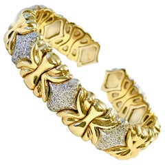 Flexible Two-Tone Diamond Cuff Bangle Bracelet